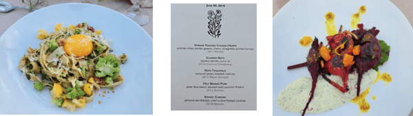 two courses and dinner menu