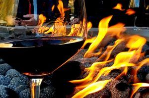 wine glass and fire